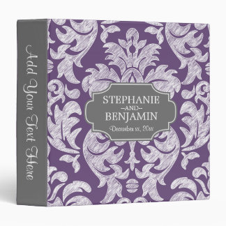 Trendy Gray & Purple Damask Pattern Wedding Date Vinyl Binder