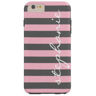 Trendy Gray Striped Pattern with Custom name Tough iPhone 6 Plus Case