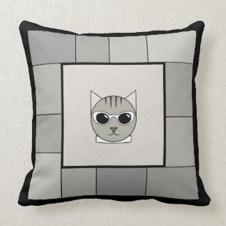 Trendy Gray Tabby Square Pillow