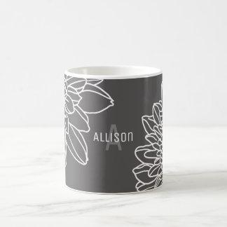 Trendy Gray White Flowers Name Initial Coffee Mug