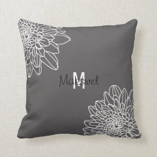 Trendy Gray With White Flowers & Name Pillow