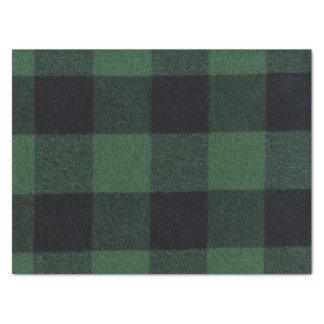 Trendy Green and Black Buffalo Plaid Cozy Tissue Paper