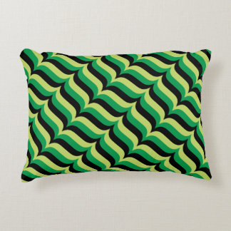 Trendy Green and Black Wavy Stripes Pattern Decorative Pillow