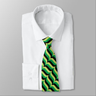 Trendy Green and Black Wavy Stripes Pattern Tie