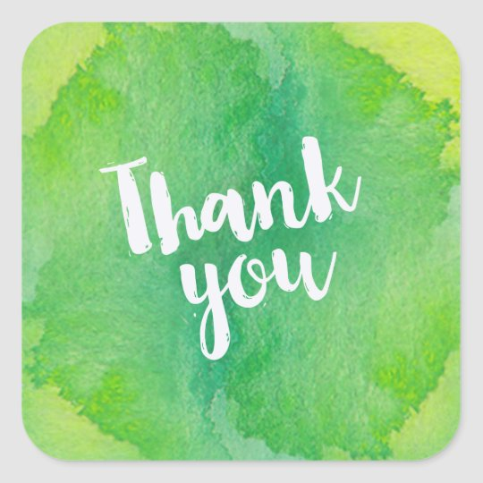Trendy Green and Yellow Watercolor Thank You Square Sticker