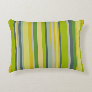 Trendy green bamboo coloured striped pattern accent pillow