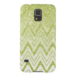 Trendy Green Glitter Gradient Chevron Pattern Cases For Galaxy S5