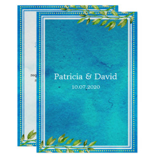 Trendy Green Leaves Blue Watercolor Wedding Card
