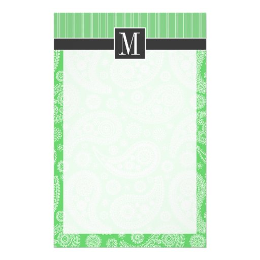 Trendy Green Paisley Stationery Design