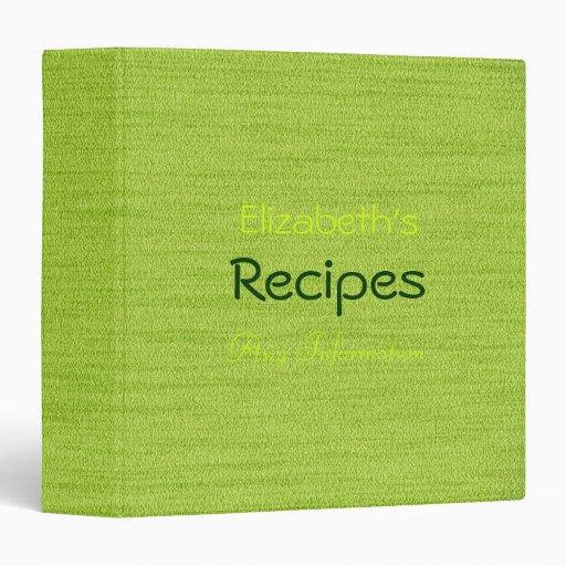 Trendy Green Professional Recipes Binder