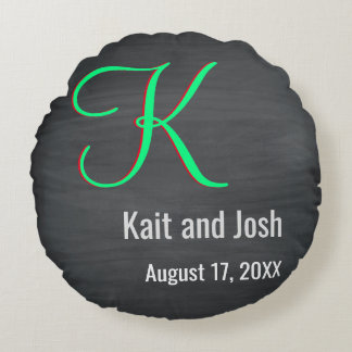 Trendy Green Script Rustic Chalkboard Monogram Round Pillow