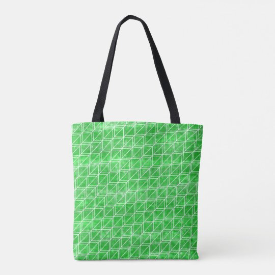 Trendy Green Watercolor Geometric Pattern Tote Bag