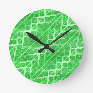 Trendy Green Watercolor Geometric Pattern Wallclocks