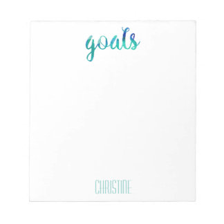 Trendy Green Watercolor Goals Personalized Stylish Notepads
