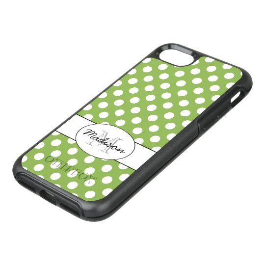 Trendy Greenery and White polka dots Monogram OtterBox Symmetry iPhone 7 Case