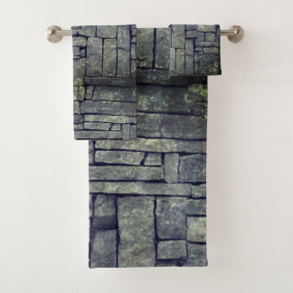 Trendy grey beach stone texture design bath towel set