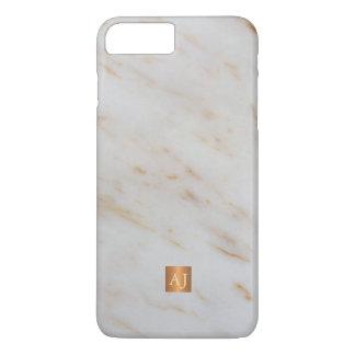 Trendy grey marble metallic copper square monogram iPhone 7 plus case