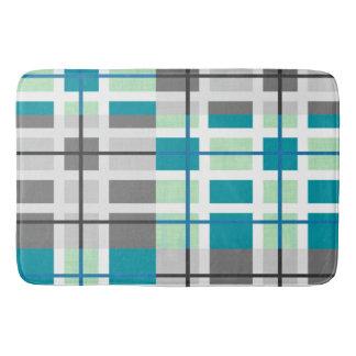 Trendy grey mint teal geometric modern bath mat