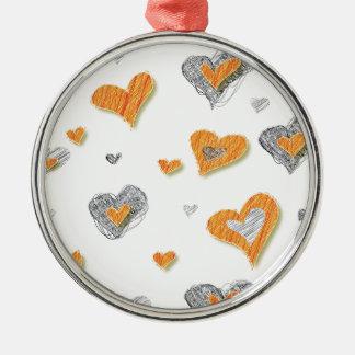 Trendy grey orange heart scribble pattern gifts christmas tree ornament