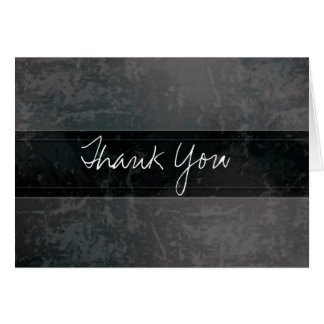 Trendy Grunge Marble Black Thank You Card
