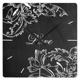 trendy hand drawn floral black board chalk effects wall clock