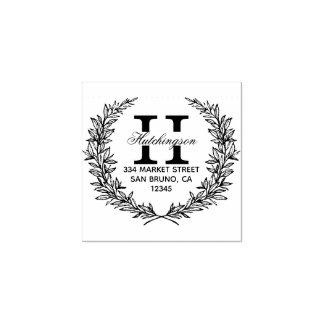 Trendy Hand-drawn Floral Wreath | Return Address Rubber Stamp