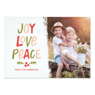 Trendy Hand Lettered Joy Love Peace Christmas Card