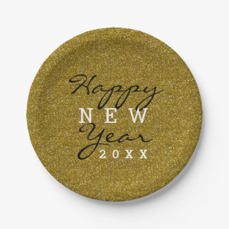 Trendy Happy New Year Gold Glitter Paper Plate