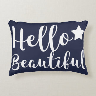 Trendy Hello Beautiful Hand Lettering Decorative Pillow