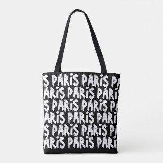 Trendy hispter paris tote bag | Black and white