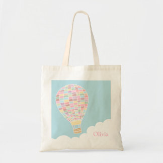 Trendy Hot Air Balloon Personalized Tote Bag