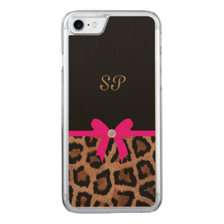 Trendy Hot Pink and Black Leopard Bow Monogram Carved iPhone 8/7 Case
