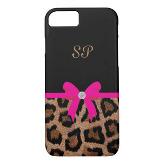Trendy Hot Pink and Black Leopard Bow Monogram iPhone 8/7 Case