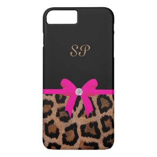 Trendy Hot Pink and Black Leopard Bow Monogram iPhone 8 Plus/7 Plus Case