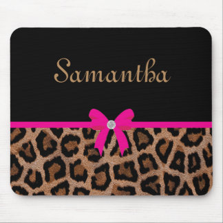 Trendy Hot Pink and Black Leopard Bow Mouse Pad