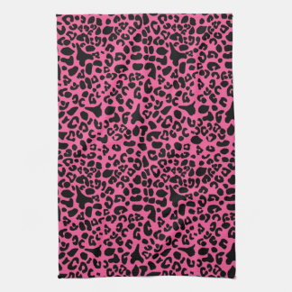 Trendy Hot Pink and Black Modern Leopard Print Kitchen Towel