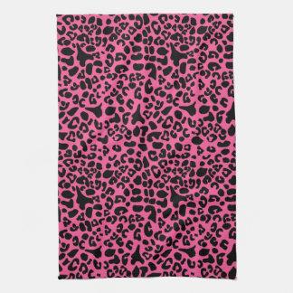 Trendy Hot Pink and Black Modern Leopard Print Kitchen Towel