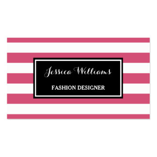 Trendy Hot Pink and Black Stripes Fashion Designer Business Card
