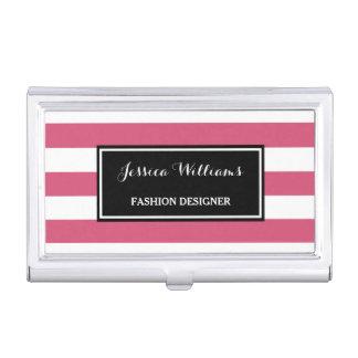 Trendy Hot Pink and Black Stripes Fashion Designer Business Card Holders