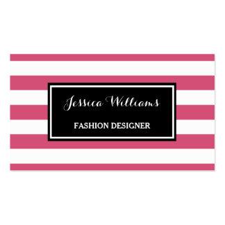 Trendy Hot Pink and Black Stripes Fashion Designer Pack Of Standard Business Cards