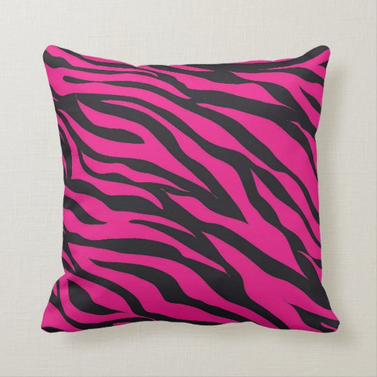 trendy hot pink fuchsia black zebra stripes print throw pillow. Black Bedroom Furniture Sets. Home Design Ideas