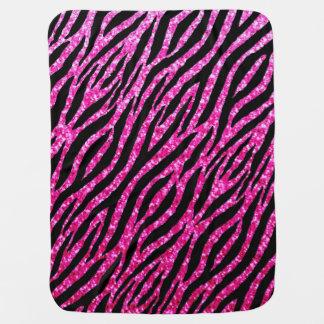 Trendy Hot Pink Zebra Print Glitz Glitter Sparkles Baby Blanket