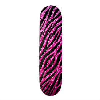 Trendy Hot Pink Zebra Print Glitz Glitter Sparkles Skate Board