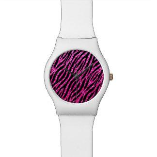 Trendy Hot Pink Zebra Print Glitz Glitter Sparkles Wrist Watches