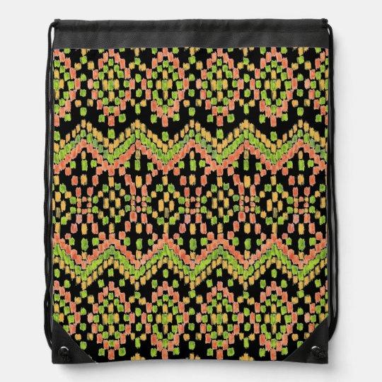 Trendy Ikat Ethnic Pattern on Black to Customize Drawstring Bag