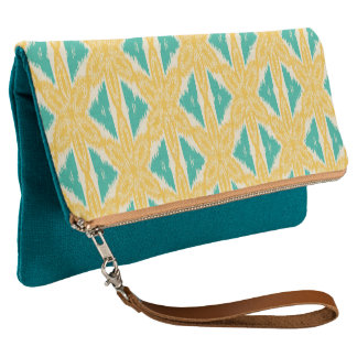 Trendy Ikat Yellow and Teal Print Clutch