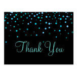 Trendy Inexpensiv Blue Glitter Black Thank You Postcard