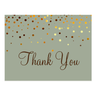 Trendy Inexpensiv Gold Glitter Green Thank You Postcard