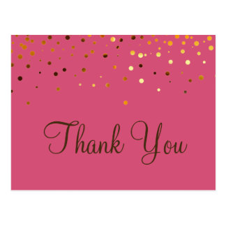 Trendy Inexpensiv Gold Glitter Pink Thank You Postcard