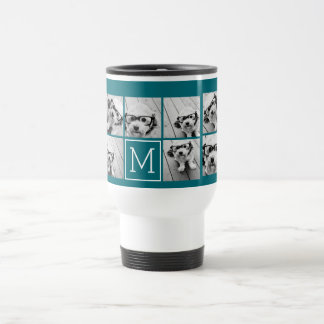 Trendy Instagram Photo Collage Custom Monogram 15 Oz Stainless Steel Travel Mug